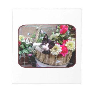 Kätzchen in einem Korb Notizblock