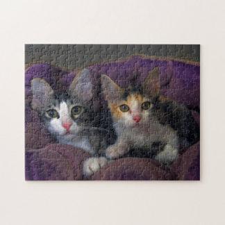 Kätzchen in einem lila Bett Puzzle