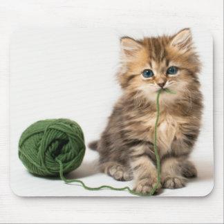 Kätzchen mit grünem Garn Mousepad