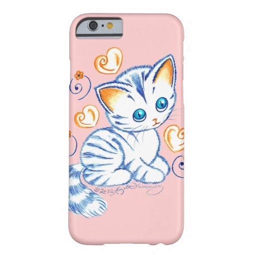 Kätzchen mit Herzen u. Wirbel Barely There iPhone 6 Hülle