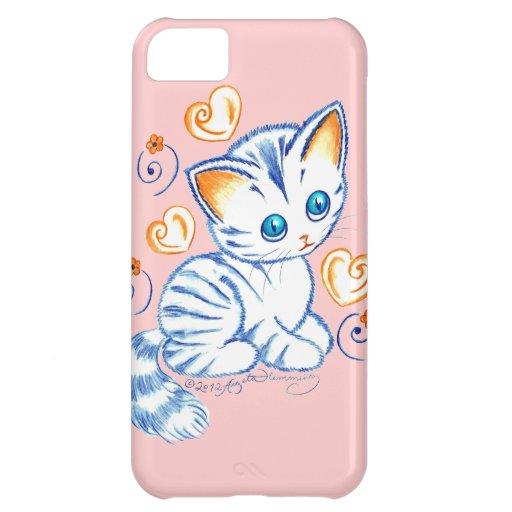 Kätzchen mit Herzen u. Wirbel Hülle Für iPhone 5C