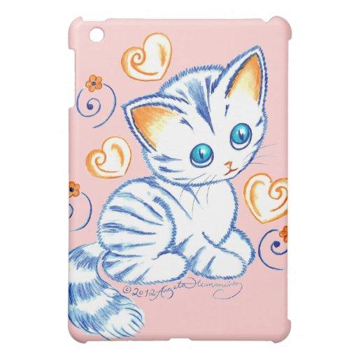 Kätzchen mit Herzen u. Wirbel Hülle Für iPad Mini