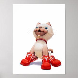 Kätzchen mit Rot-Stiefel-Kinderzimmer-Druck Poster