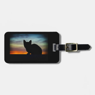 Kätzchen-Silhouette-Sonnenuntergang-Himmel-Gepäck Gepäckanhänger
