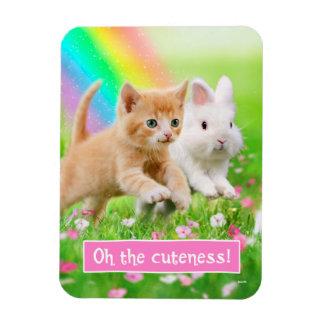 Kätzchen u. Häschen mit Regenbogen Magnet