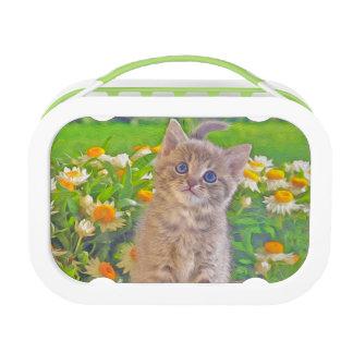 Kätzchen und Blumen Brotdose
