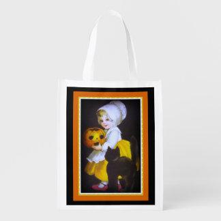 Kätzchen-und Kürbis-Leckerei-Tasche Halloweens Wiederverwendbare Einkaufstasche