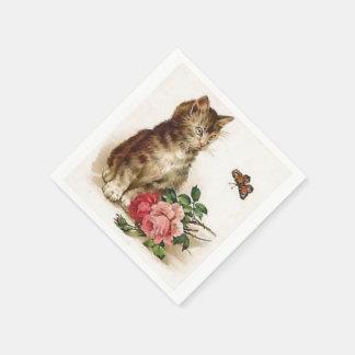 Kätzchen und Schmetterling Serviette