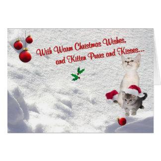 Kätzchen-Weihnachtsschnee-Szenen-Gruß-Karte Karte