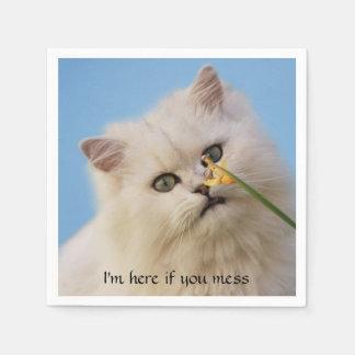 Kätzchen, welches die Narzisse liebt Papierserviette