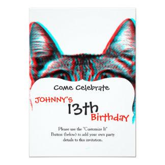Katze 3d, 3d Katze, Schwarzweiss-Katze Karte