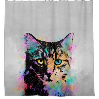 Katze 618 Mehrfarben Duschvorhang