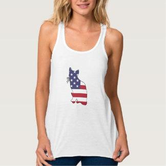 """Katze """"amerikanische Flagge """" Tanktop"""