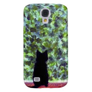 Katze an einem Fenster, schwarze Katzen-Malerei Galaxy S4 Hülle