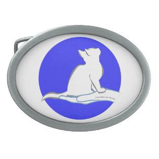 Katze an Hand, Text, blauer Kreis Ovale Gürtelschnalle