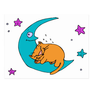 Katze auf dem Mond Postkarte