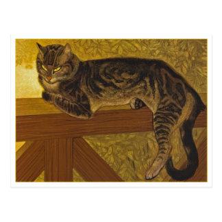 Katze auf einer Balustrade durch Steinlen Postkarte