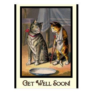 Katze auf Krücken Postkarte