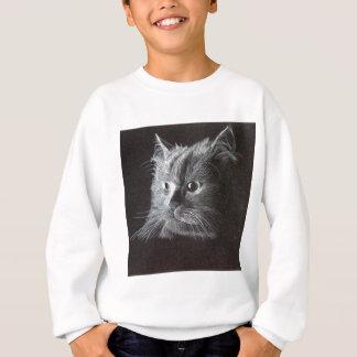 Katze auf Schwarzem Sweatshirt