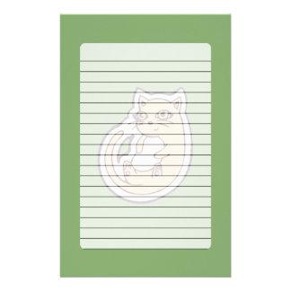 Katze auf seinem hinteren niedlichen weißen Bauch, Briefpapier