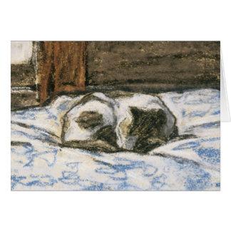 Katze, die auf einem Bett durch Claude Monet Karte