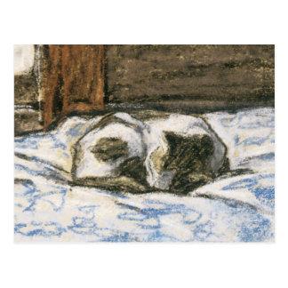 Katze, die auf einem Bett durch Claude Monet Postkarte