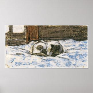 Katze, die auf einem Bett durch Claude Monet schlä Poster