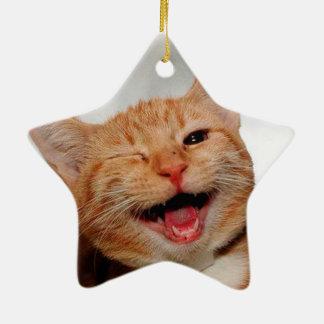 Katze, die blinzelt - orange Katze - lustige Keramik Stern-Ornament