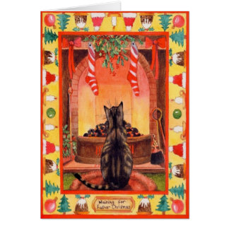 Katze, die durch den Kamin auf Weihnachtsabend Grußkarte