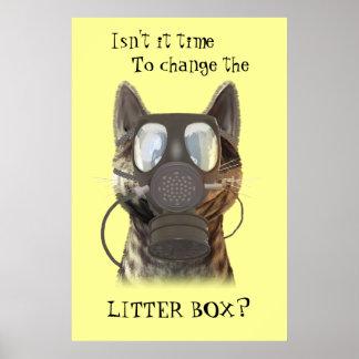 Katze, die ein Gasmaskeplakat trägt Poster