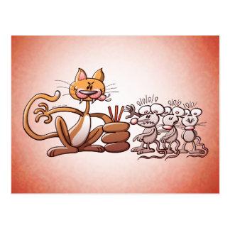 Katze, die eine Maus durch das Zeichnen des kurzen Postkarte