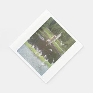 Katze, die eine Seemöwe fliegt Papierserviette