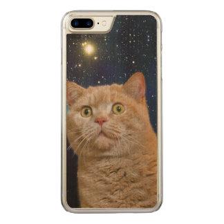 Katze, die entlang des Universums anstarrt Carved iPhone 8 Plus/7 Plus Hülle