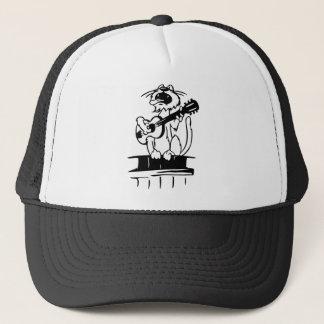 Katze, die Gitarre spielt Truckerkappe