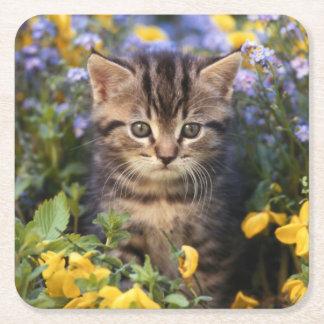 Katze, die im Blumen-Garten sitzt Rechteckiger Pappuntersetzer