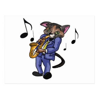 Katze, die Saxophon spielt Postkarten