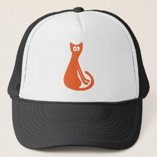 Katze, die seitlich orange hallo-Augen sitzt Truckerkappe