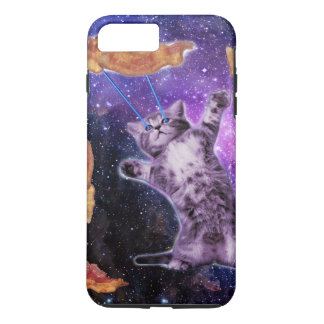 Katze, die Speck mit Augen-Laser brät iPhone 8 Plus/7 Plus Hülle