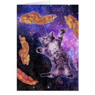 Katze, die Speck mit Augen-Laser brät Karte