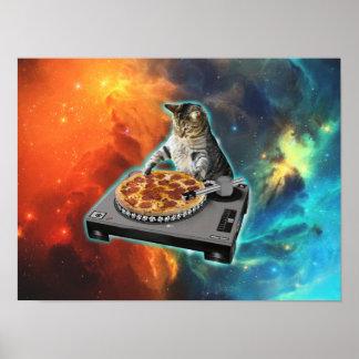 Katze DJ mit der soliden Tabelle des Discjockeys Poster