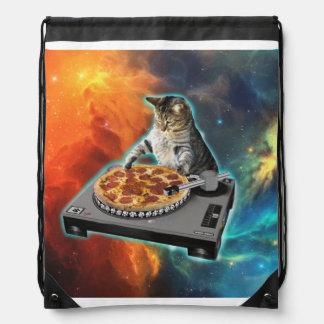 Katze DJ mit der soliden Tabelle des Discjockeys Turnbeutel