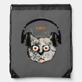 Katze DJ mit Kopfhörer Sportbeutel