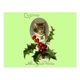Katze etikettiert beste Wünsche Postkarte