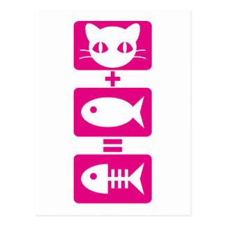 Katze + Fische = Knochen Postkarte