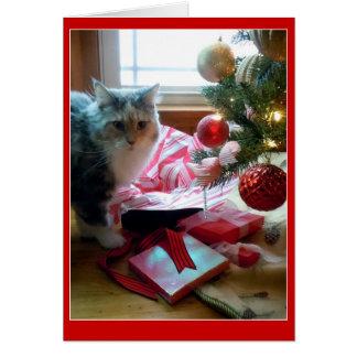 Katze gesprengtes öffnendes Weihnachtsgeschenk Karte