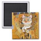 Katze Gustav Klimt im GoldParodiemagneten Quadratischer Magnet