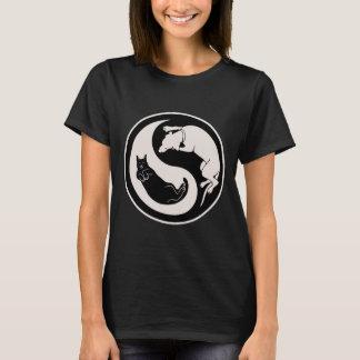 Katze-Hund Yin-Yang T-Shirt
