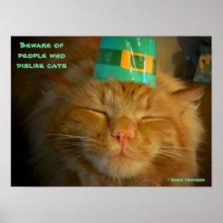 Katze im irischen Hut mit Sprichwort Poster