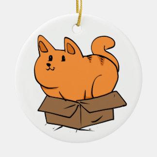 Katze im Kasten Keramik Ornament