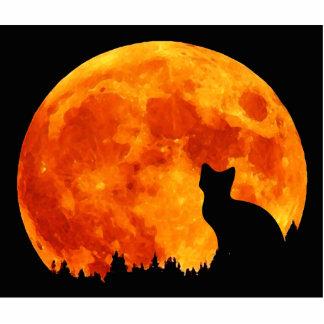 Katze im vollen orange Mond Freistehende Fotoskulptur